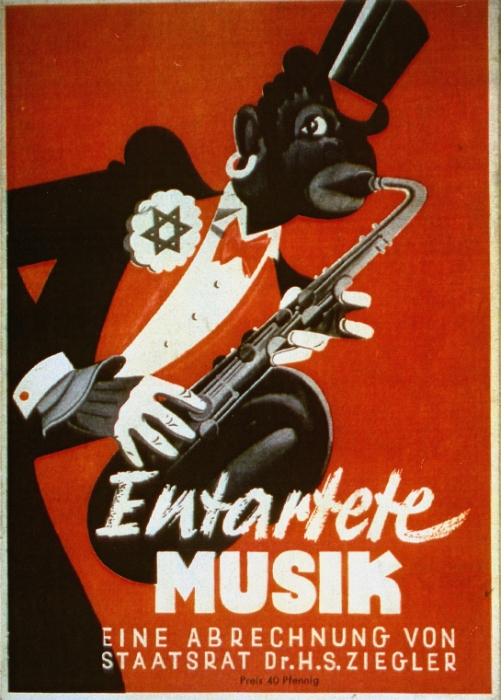 Cover of an anti-black and antisemitic Nazi propaganda brochure. Duesseldorf, Germany, 1938. — Bildarchiv Preussischer Kulturbesitz